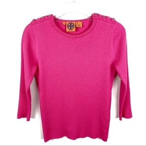 Tory Burch 3/4 Sleeves Button Pink Ribbed Sweater